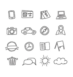 Hand-drawn icons set vector