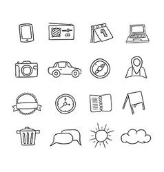 Hand-drawn icons set vector