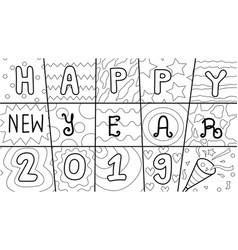 hand drawn typographic happy new year 2019 vector image