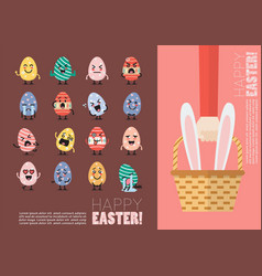 Happy easter postcard set vector