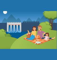 happy family people on picnic together at vector image