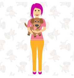 happy girl with a puppy in her arms i dreamed of vector image