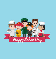 Happy labor day postcard template vector