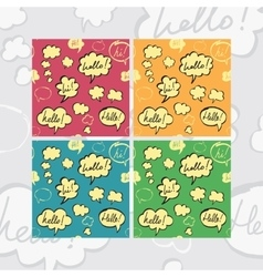 Hello and Hi Speech Bubbles Seamless Pattern Set vector image