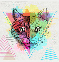 Hipster animal realistic and polygonal cat on vector