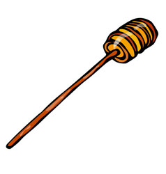 Honey stick dipper sketch hand drawn vector