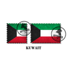 kuwait flag pattern postage stamp with grunge old vector image