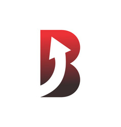 Letter b up arrow red color logo icon vector