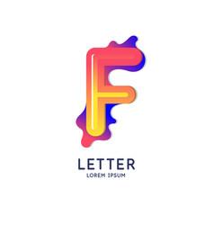 Letter f latin alphabet display vector