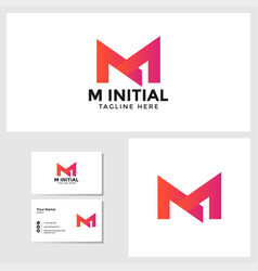 m initial logo template with business card design vector image
