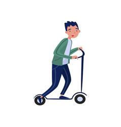 man riding kick scooter eco friendly alternative vector image