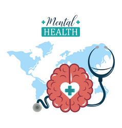 Mental health day world stethoscope and brain vector
