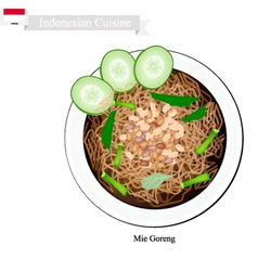 Mie goreng bami goreng or indonesian fried noodle vector