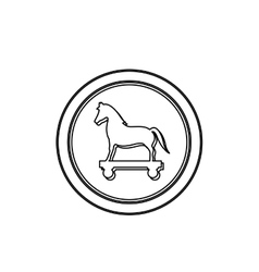 Monochrome contour in circle with trojan horse vector