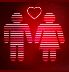 Neon icon love couple vector