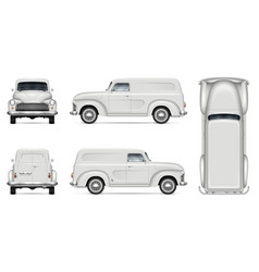 Old white van realistic mock-up vector