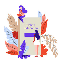 online education female students and book or vector image