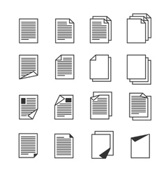 Paper document page icons set vector