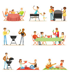 People on bbq picnic outdoors eating and cooking vector