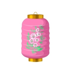 Pink chinese paper lantern icon cartoon style vector