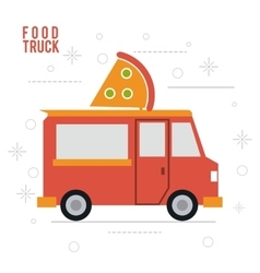 Pizza truck fast food icon graphic vector