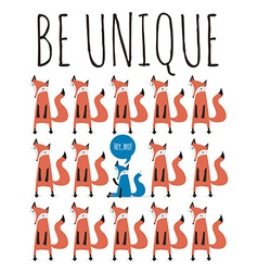 Poster with foxes Greeting card with typography vector image
