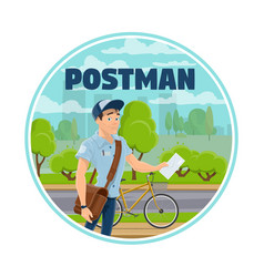 postman and letter express delivery service vector image