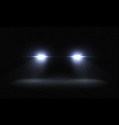 realistic car headlights train front light beams vector image