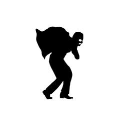 Robber silhouette black vector