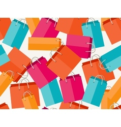 Sale seamless pattern with shopping bags in flat vector image