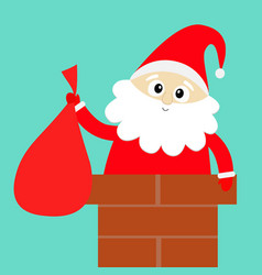 santa claus on rochimney red hat costume vector image