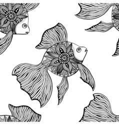 Seamless background of abstract fish vector image