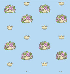 seamless pattern from crowns various shapes vector image