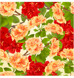 seamless texture branch red and yellow hibiscus vector image