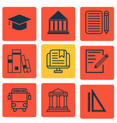 Set of 9 education icons includes measurement vector