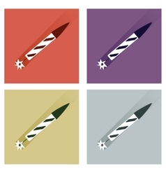 Set of flat icons with long shadow fireworks vector