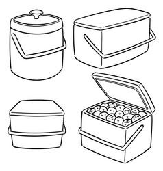 set of ice bucket vector image