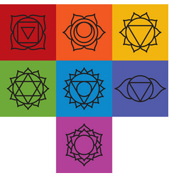 Set of seven chakra symbols with names vector