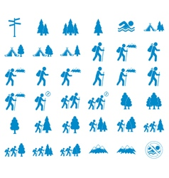Set of tourist icons vector