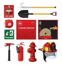 Sey of fire fighting equipment vector