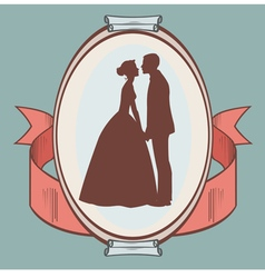 Silhouette wedding couple vector