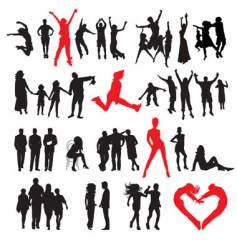 Silhouettes of peoples vector