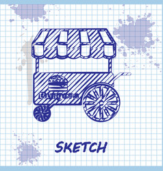 Sketch line fast street food cart with awning icon vector