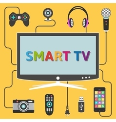 Smart tv with connected digital devices vector image