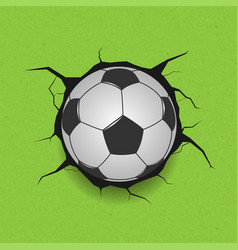 soccer ball on cracked background vector image vector image