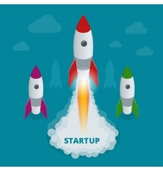 Startup flat 3d isometric style technology vector