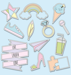 Stickers and patches collection trendy vector