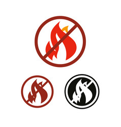 stop fire and no flame icon vector image