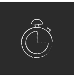 Stopwatch icon drawn in chalk vector image