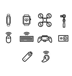 Thin line technology icon set vector